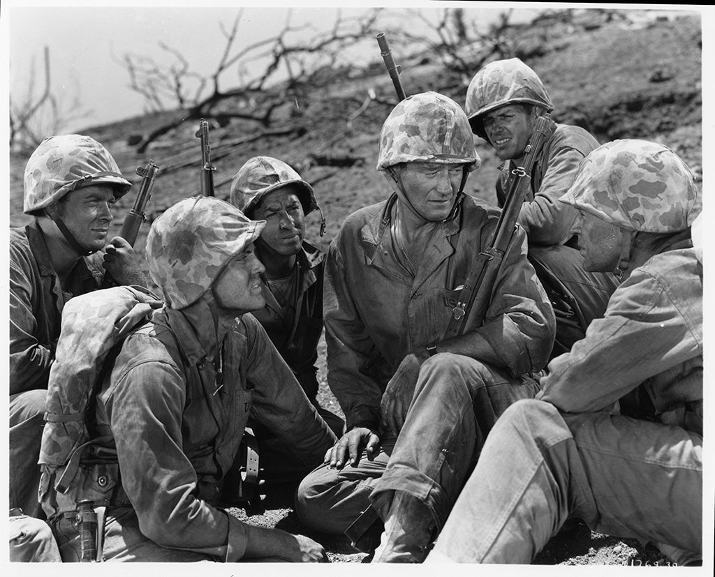 John Wayne talking to troops in Sands of Iwo Jima movie