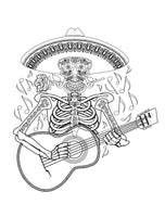 Day of the Dead Coloring Book Page with Skeleton Wearing Sombrero and Playing Guitar