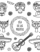 Dia de los Muertos Adult Coloring Book Page with Skulls and Cats