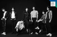 black and white image of BTS band members
