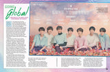Going Global article spread featuring BTS poster with band members