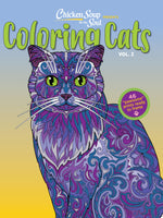 Chicken Soup for the Soul Coloring Cats Volume 2 with purple and green cat on cover
