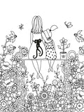 Coloring Love You Mom page of mother and daughter in garden