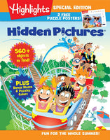 Highlights Hidden Pictures Fun for the Whole Summer Magazine Cover illustration with children riding in a rollercoaster
