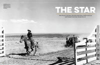 John Wayne The Star spread with image of actor riding horse through corral in black and white