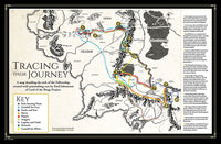 Inside magazine spread of map of Middle-earth tracing the Fellowship's journey