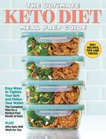 The Ultimate Keto Diet Meal Prep Guide with broccoli and shredded meat stacked in containers against a blue tile background