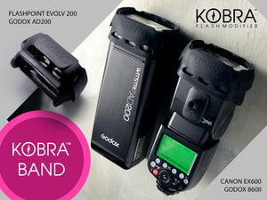 Kobra Band installed on a Godox AD200 and 860II