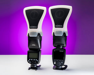 Profoto A1 and Godox V1 with Kobra Flash Modifier Roundhead Band installed