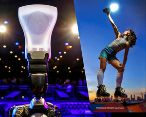 Image of the Kobra Modifier installed on a camera, next to image of Michelle Steilen on roller skates holding a Kobra