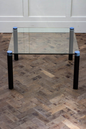1980's Glass Coffee Table with Metal Legs
