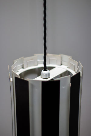 Metal 1960s Black & White Pendant Light.