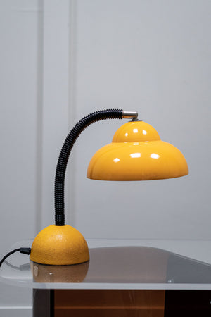 A 1960s Metal Gooseneck Yellow Desk Lamp.
