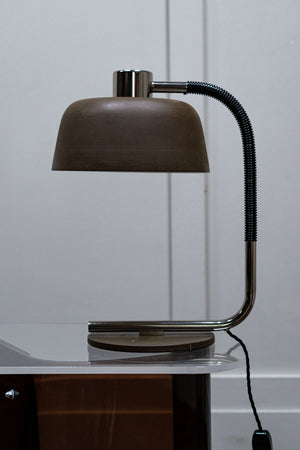 A 1960s Large Metal Gooseneck Green Desk Lamp.