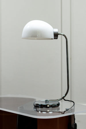 Mid-Century 1950s Opaline and Chrome Desk Lamp with a Glass Shade.