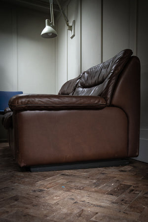 A DS66 Brown Leather Two Seater Sofa by Carl Larsson for De Sede, 1970s.