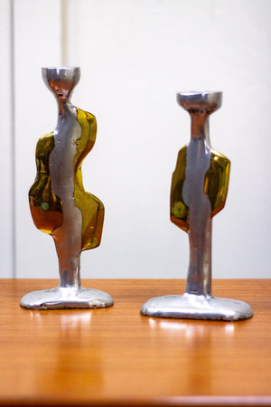 A Pair of David Marshall Brutalist Candlesticks