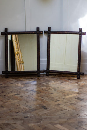 Pair of Tramp Art Mirrors