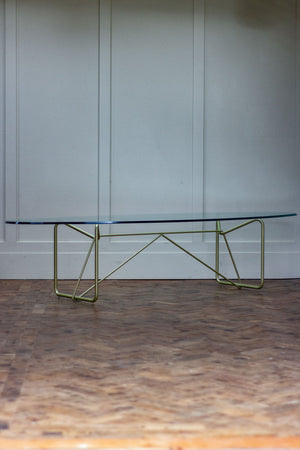 Mid-Century Modern Oval Glass Coffee Table