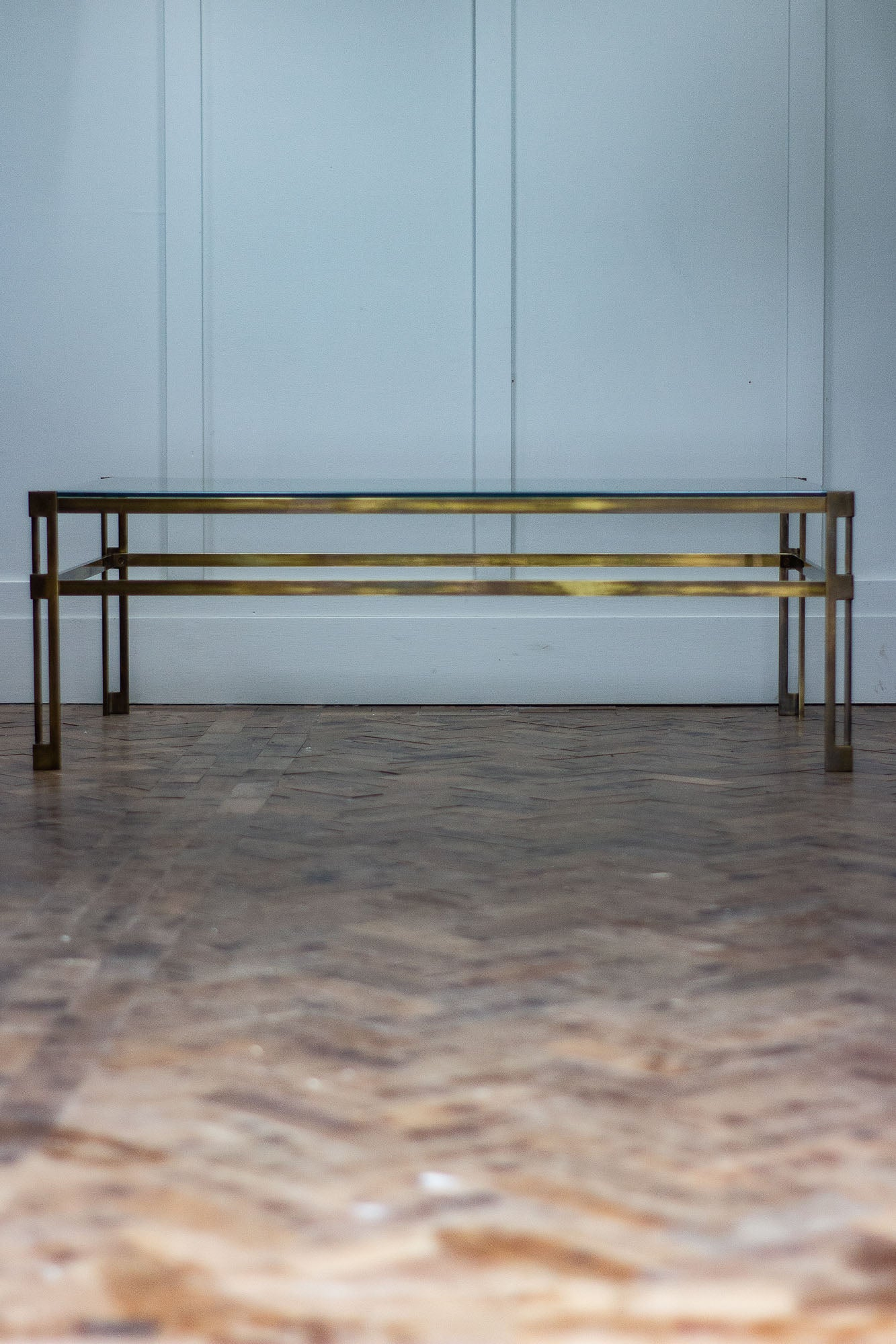 Stupendous Mid Century Modern Brass Glass Coffee Table 1960 Home Interior And Landscaping Oversignezvosmurscom