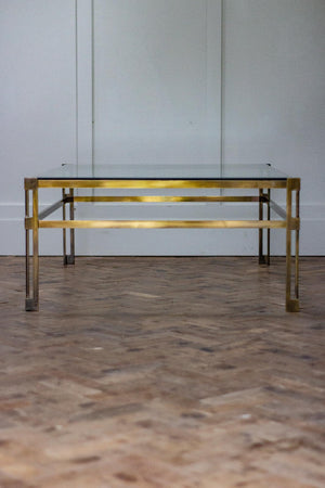 Mid-Century Modern Brass & Glass Coffee Table 1970