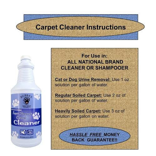 Bubbas Super Steamer Carpet Cleaner. ODOR and STAIN REMOVER CARPET SHAMPOO. 1oz of Solution Per Gallon of Water in Any Rug, Upholstery or Carpet Cleaning Machine