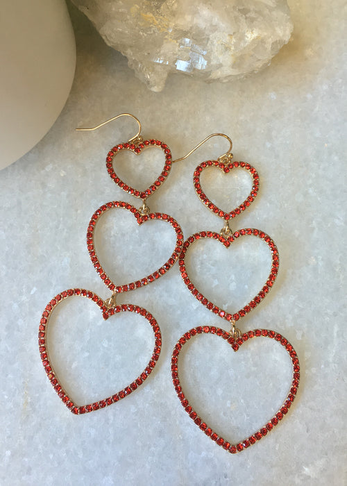 Triple Heart Rhinestone Earrings Red
