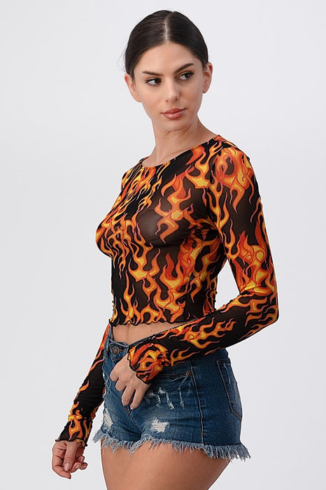 Flames Mesh Crop Top
