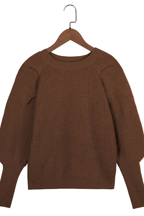 Puff Sleeve Knit Top Chesnut