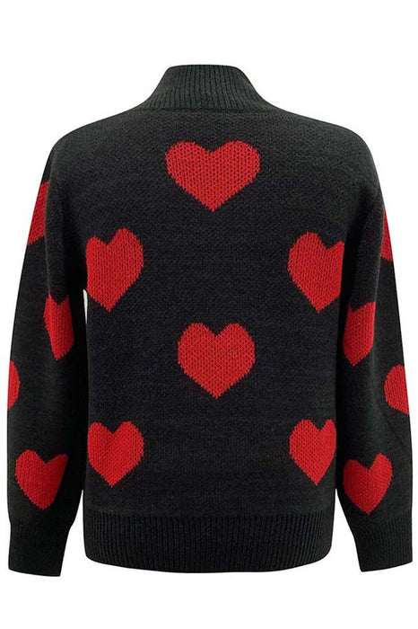 Black Hearts Knit Mock Neck Sweater