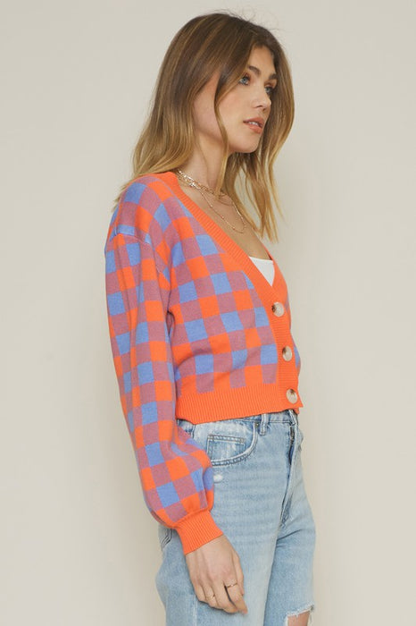 Orange Crush Checkered Cardigan
