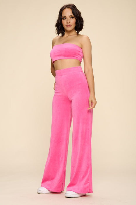 Britney Velour Lounge Pants - Hot Pink