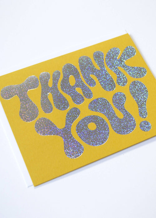 Glitter Hologram Thank You Card