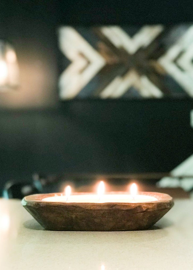 Wood Wick Dough Bowl Candle
