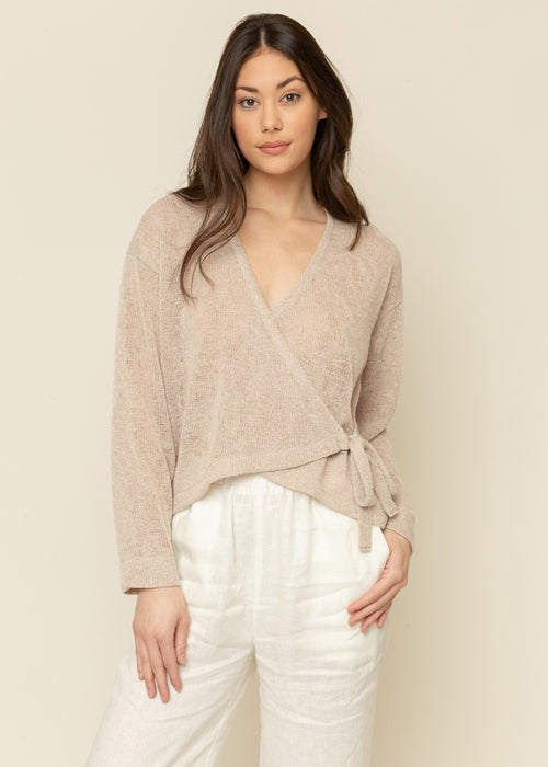 Sand Knit Wrap Top