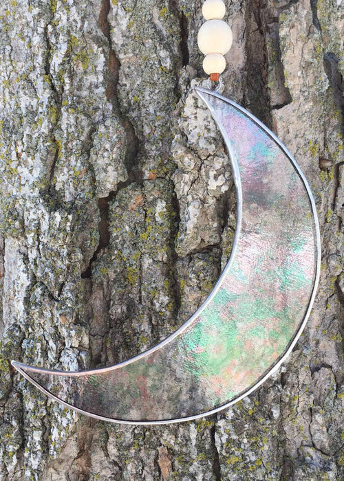 Stained Glass Crescent Moon Sun Catcher