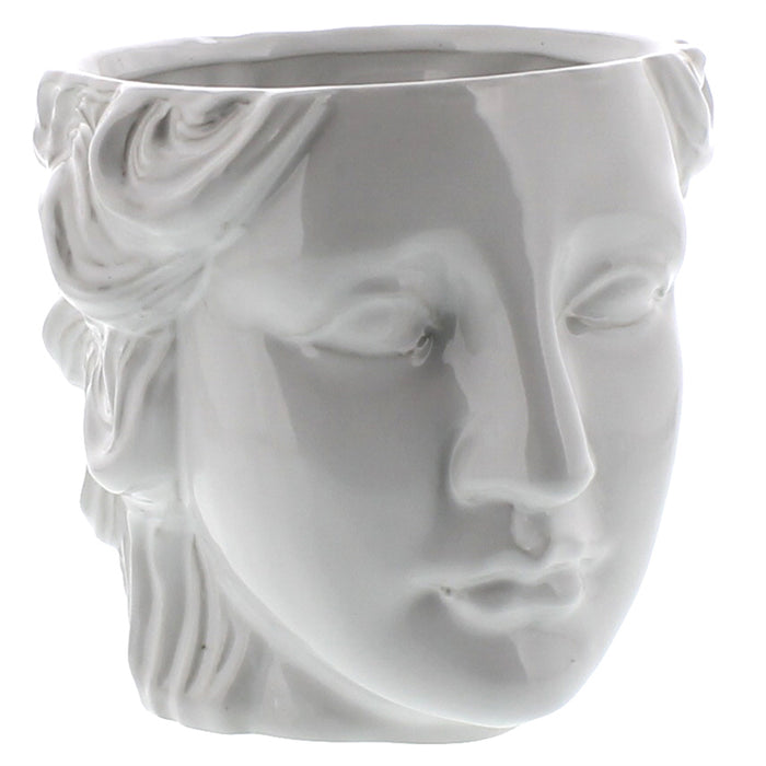 Juno Ceramic Head Cachepot - White