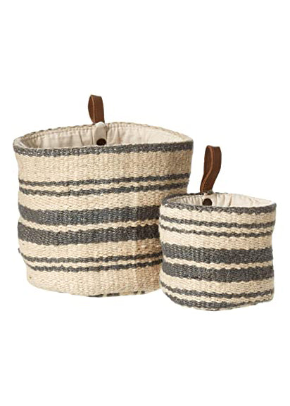 Jute Wall Basket with Leather Strap
