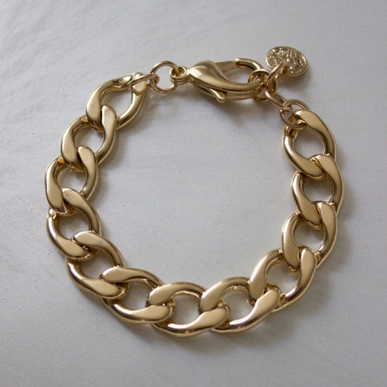 Gold Plate Statement Cable Chain Bracelet