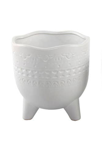 Mayan Wavy Footed Planter White