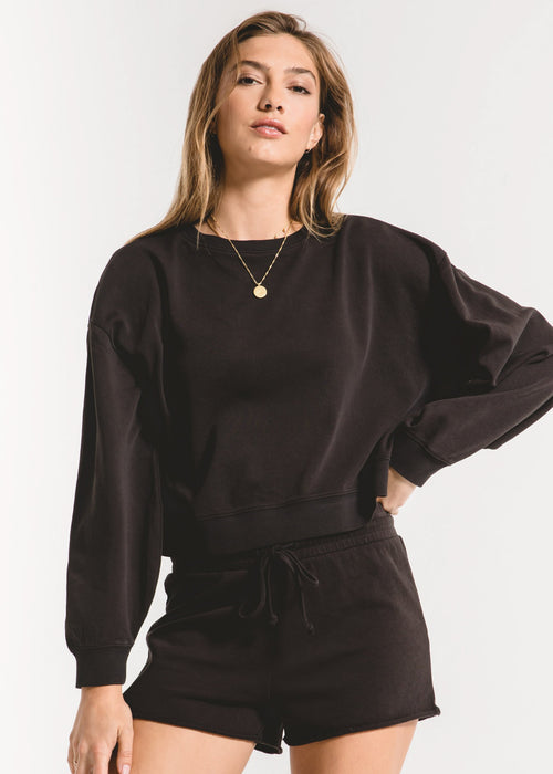 The Cotton French Terry Pull Over Black