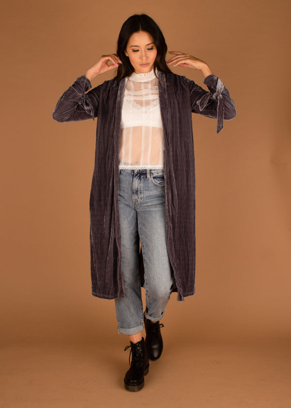 Blueberry Frost Velvet Cardigan