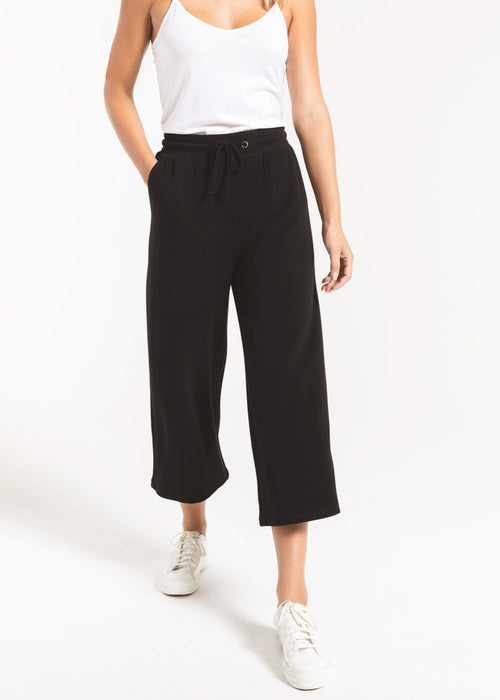 The Premium Fleece Crop Pant Black