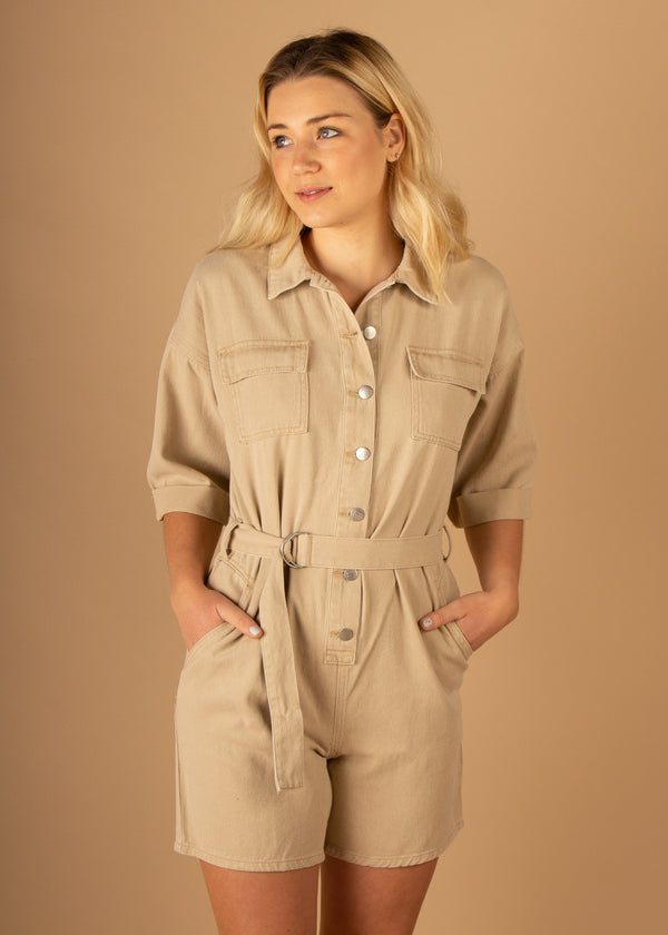 Academy Short Boiler Suit Tan