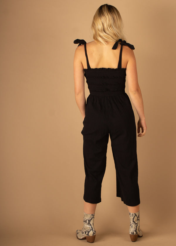 Kyla Shirred Jumpsuit Black