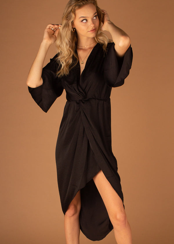 Harmony Sleeve Twist Front Dress - Black