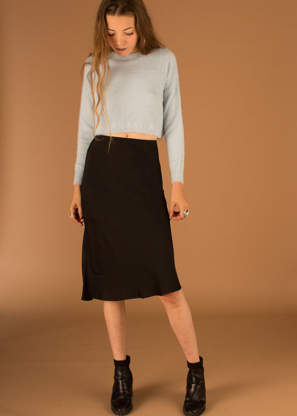 Janet Bias Cut Midi Skirt - Black