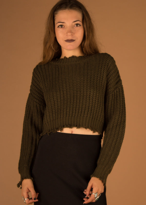 Vince Cropped Edge Sweater - Olive