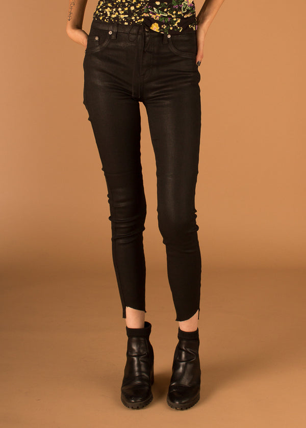 Aline High Rise Skinny Coated Onyx