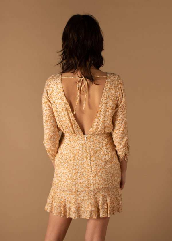 Wild Honey Mini Dress Mustard Floral
